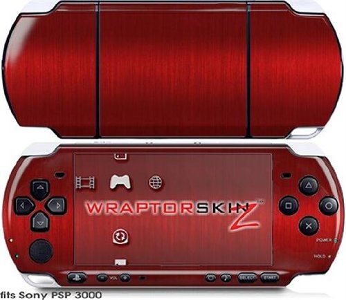 Sony PSP 3000 Decal Style Skin - Brushed Metal Red