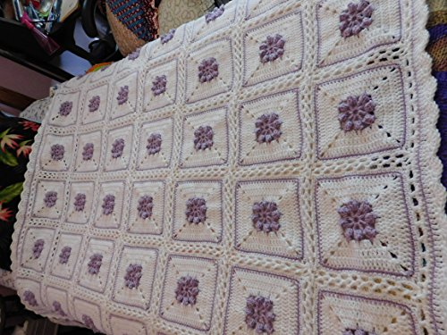 Hand Crocheted Popcorn Rose Afghan, Throw, Blanket, Lavender, White