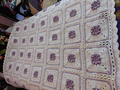 Hand Crocheted Afghan (Hand Crocheted Popcorn Rose Afghan, Throw, Blanket, Lavender, White)