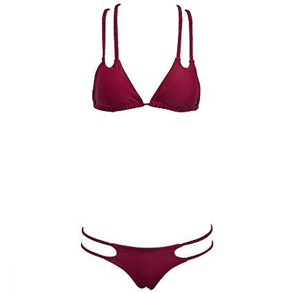 c704cce530b PLAY HARD Elegant Women Bikini Swimwear with Stylish Woven Straps (Wine  Red, M)