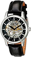 Stuhrling Original Women's 576.11151 Vogue Audrey Stella Automatic Skeleton Swarovski Crystal Black Dial Watch