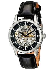 Stuhrling Original Women's 576.11151 Vogue Audrey Stella Automatic Skeleton Swarovski Crystal Black Dial Watch