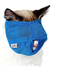 BBEART Cat Muzzles,Breathable Mesh Muzzles with Adjustable Velcro Cat Mask Mouth Cover Anti Biting and Chewing - Anti Bite Anti Meow (L, Bule)