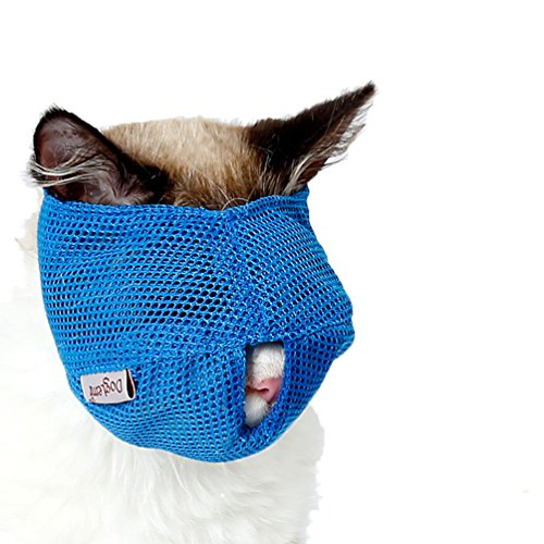 BBEART Cat Muzzles,Breathable Mesh Muzzles with Adjustable Velcro Cat Mask Mouth Cover Anti Biting and Chewing - Anti Bite Anti Meow (S, Bule)