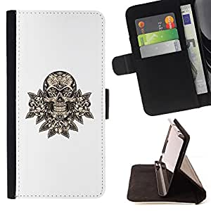 For Samsung Galaxy Note 3 III Skull Floral Minimalist White Death Rock Style PU Leather Case Wallet Flip Stand Flap Closure Cover