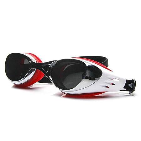 occhialini da nuoto Leak-fog nuoto occhiali di protezione UV per proteggere liberi adulto Uomini giovani figli occhiali silicone Ms. Nero Grigio Rosso , silver