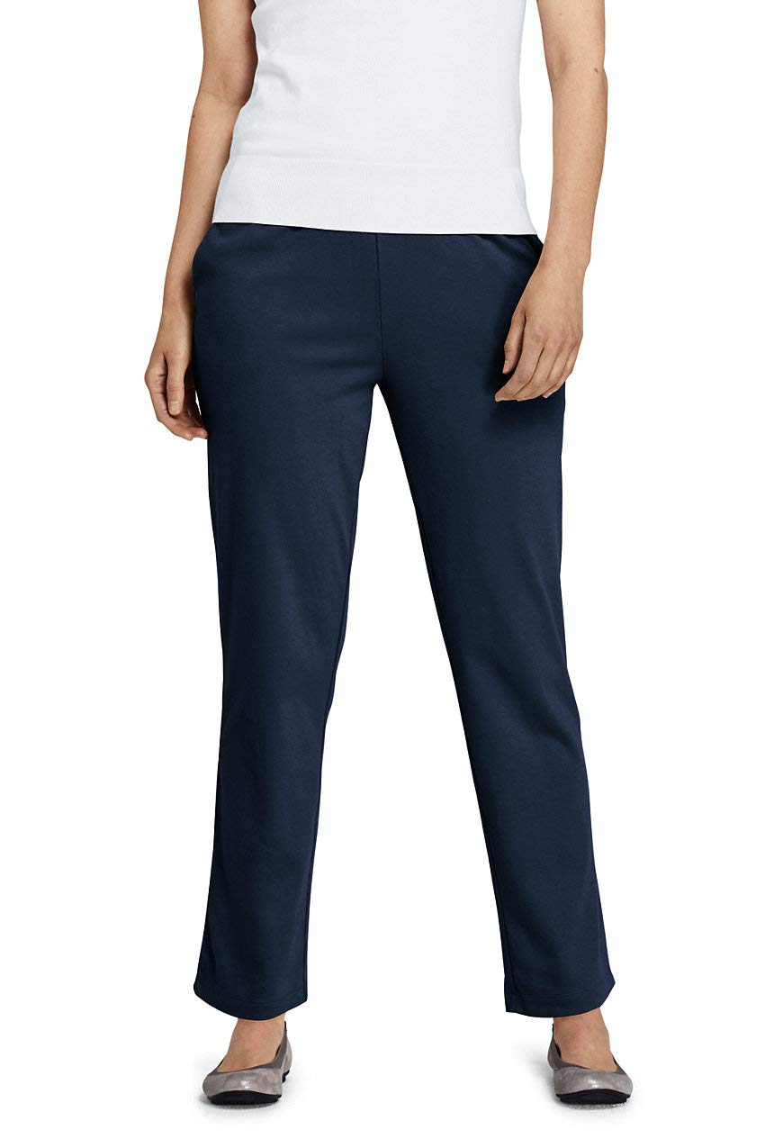 Lands' End Women's Petite Sport Knit High Rise Elastic Waist Pull On Pants Classic Navy