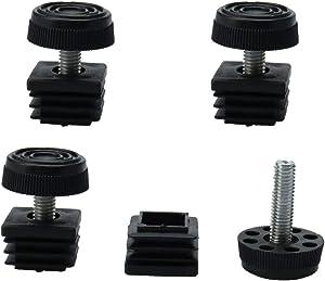 uxcell Leveling Feet 25 x 25mm Square Tube Inserts Kit Furniture Glide Adjustable Leveler for Shelves Table Desk Leg Black 4 Sets