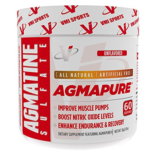 VMI Sports AGMAPURE Pure Natural Agmatine Sulfate for Intense Muscle Pumps & Strength Workouts, Nitric Oxide Booster To Support Performance and Vascularity, Energy & Endurance, 60serv, Unflavored by VMI Sports