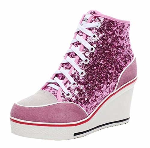 (Jiu du Women's High-Heeled Sneakers with Suede Sequins Lace Up Wedges Shoes Pink Sequin Size US8)