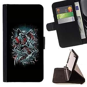 BullDog Case - FOR/Samsung Galaxy S6 / - / ANGEL DEATH BLACK THRONE KING DEVIL /- Monedero de cuero de la PU Llevar cubierta de la caja con el ID Credit Card Slots Flip funda de cuer