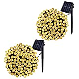 JMEXSUSS 2 Pack Solar String Light 200LED 75.5ft 8 Modes Solar Christmas Lights Waterproof for Gardens, Wedding, Party, Homes, Christmas Tree, Curtains, Outdoors (200LED-Warm White-2Pack)