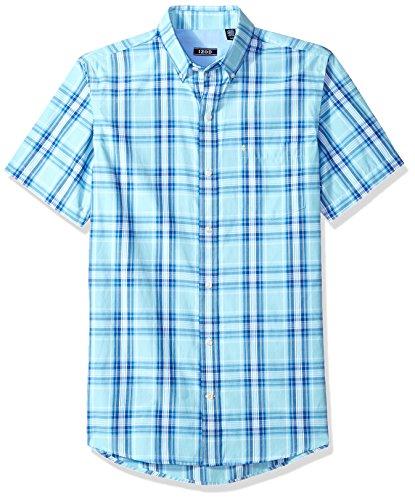 Shirt Mens Plaid Button (IZOD Men's Saltwater Breeze Plaid Short Sleeve Shirt, Plaid Gulf Stream, XX-Large)