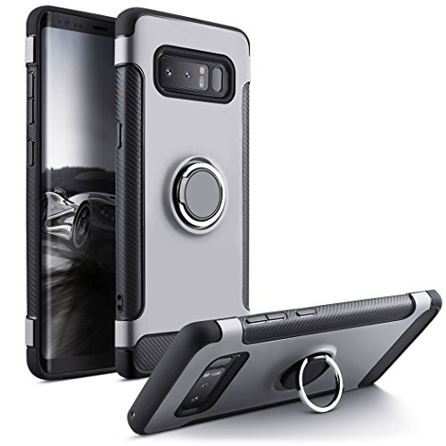 Besiva Galaxy Note 8 Case, Heavy Duty Protection Soft Cover Case 360°Swivel Ring Kickstand Shock Absorption Anti-Scratch Durable Protective Case Samsung Galaxy Note 8 (Silver)