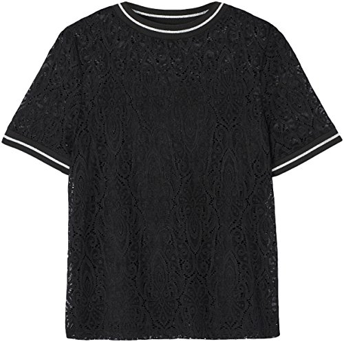 FIND Lace High Neck, Camiseta para Mujer Negro (Black)
