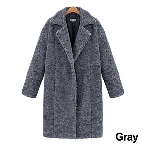 Medium Gris Ropa medias manga Outwear sólido Cálido color lana Invierno abrigo jannyshop Mujeres Chaqueta de crema cachemir de larga UwIxT