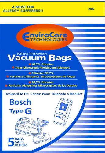 5 Bosch Allergy Vacuum Cleaner TYPE G Canister Bags