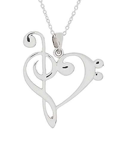 Amazon 925 sterling silver treble and bass clef heart 925 sterling silver treble and bass clef heart reversible w 18quot aloadofball Images