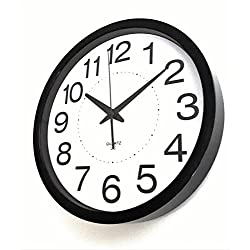 Linear Co. Wall Clock, Large Wall Clock Black and White Silent Non-ticking 12 30cm Large Easy to Read Modern Executive Decorative Analog Quartz Sweep Movement Stylish