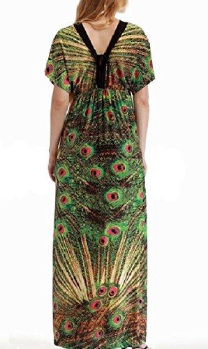 Coolred-femmes Taille, Plus Lâche Plage Flyaway Robe Longueur Cheville V-cou Vert