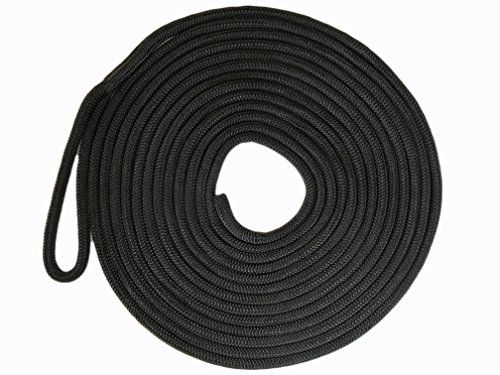 Rope Nylon Yacht Braid (Knotty Girlz 5/8 Double Braid Nylon Dock Line Yacht rope or Mooring Line 100ft, 50ft, 25ft. or 15ft. Overall Length with Eye Spliced Loop (Black, 15ft.))