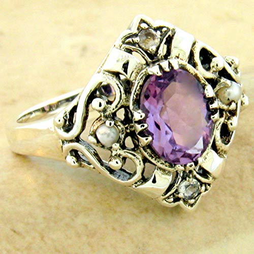 Genuine Amethyst Pearl Topaz Victorian Style 925 Silver Ring Size 6 KN-3528
