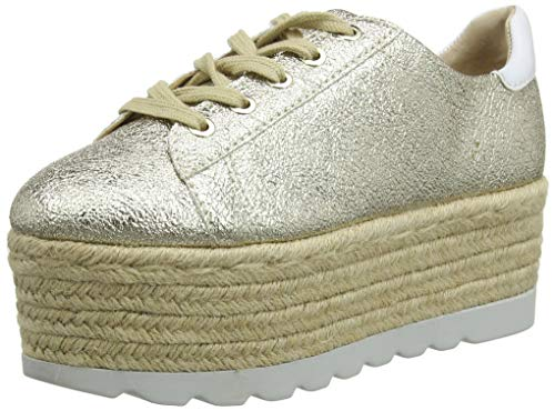(GUESS Women's Gracen/Derby/Leather Trainers, Oro (Gold Plati), 5)