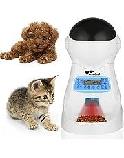 Amzdeal Futterautomat Katze, Automatischer Futterspender für Katze und Hund, Pet Feeder mit Timer, LCD Bildschirm und Ton-Aufnahmefunktion, 3.5Liter