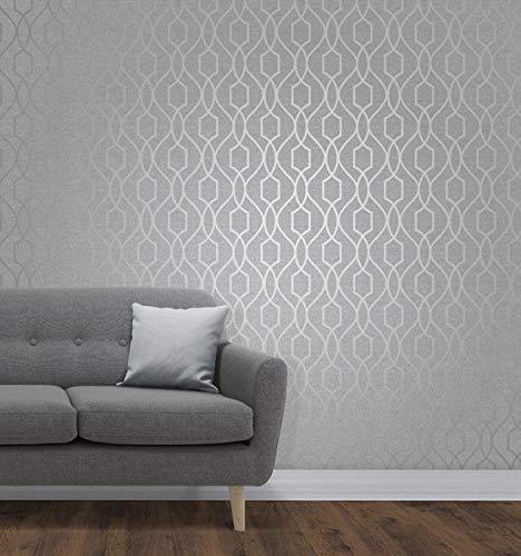 (Apex Geometric Trellis Wallpaper Stone and Silver Fine Decor FD41995)