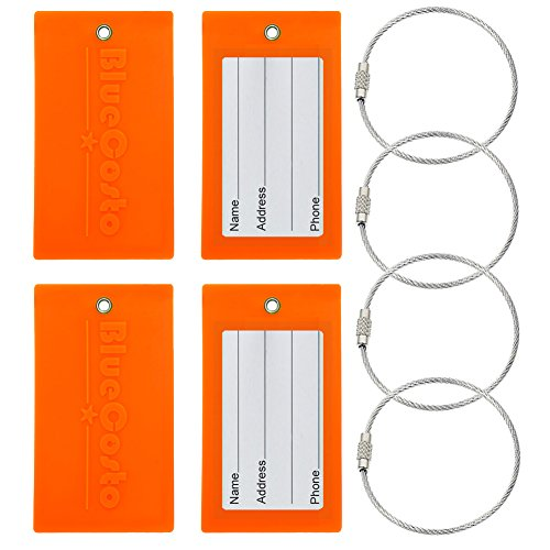 BlueCosto Flexible Tough PVC Luggage Tag Suitcase Bags Label - Fluorescent Orange, 4 - Wholesale Tags Luggage