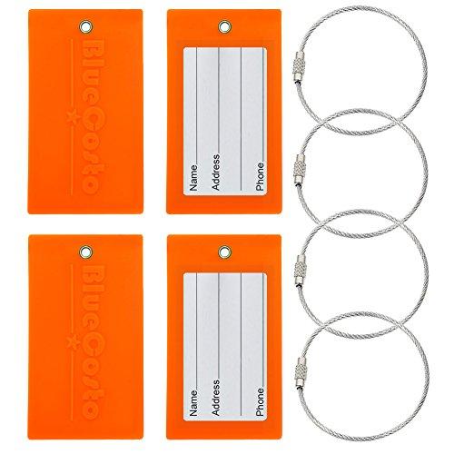 BlueCosto Flexible Tough PVC Luggage Tag Suitcase Bags Label - Fluorescent Orange, 4 - Wholesale Luggage Tags