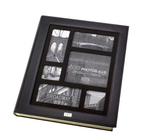 Kleer-vu Photo Album Suedeleather Collection, Holds 500 4x6 Inches Photos, 5 Per Page - Black by KVD