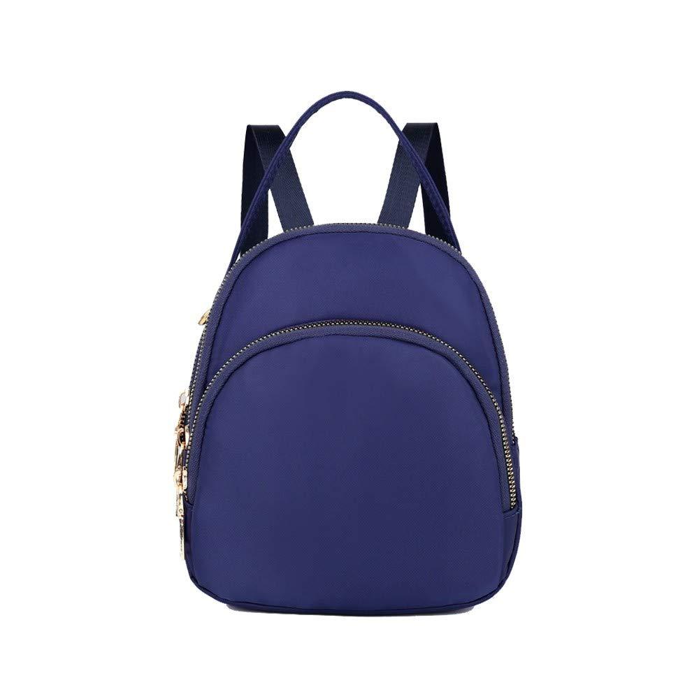 Dark bluee HEXUAN Mini Backpack Woman 2019 New Chao Nylon Multilayer Shoulder Pack Purple,Dark bluee
