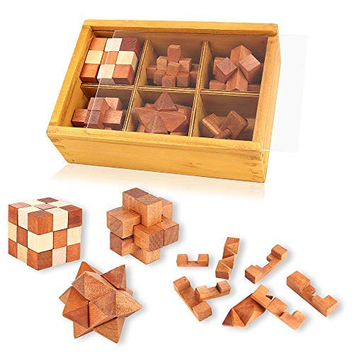 Wooden Puzzles Brain Teaser 3D Burr Puzzles Jigsaw Lock for Adults Kids IQ Test Toys Games Gift Set Interlocking Cube Blocks