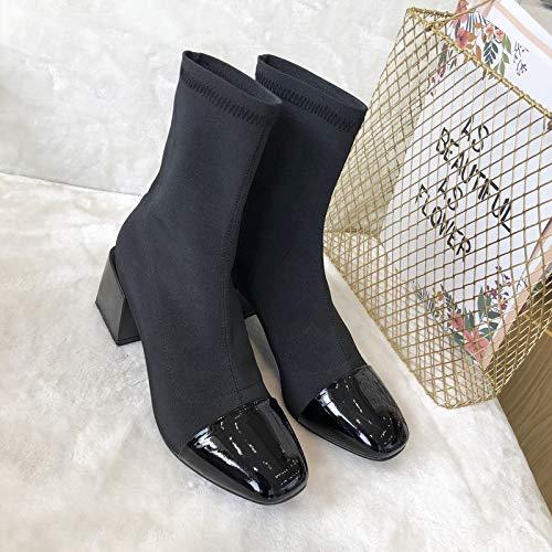 Botines de tacón Alto con Punta Cuadrada, Botines Cortos para Mujer, Negro, 34: Amazon.es: Zapatos y complementos