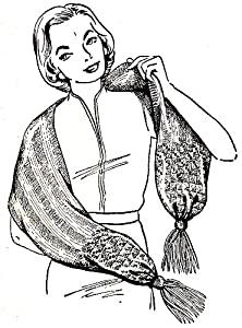 Vintage Scarf Styles -1920s to 1960s Vintage Knitting PATTERN to make - Knitted Shawl Scarf Muffler Pockets All Sizes. NOT a finished item. This is a pattern and/or instructions to make the item only. $7.99 AT vintagedancer.com