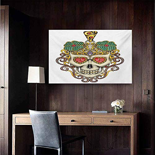 duommhome Day of The Dead Modern Frameless Painting Sugar Skull with Heart Pendants Floral Colorful Design Print Bedroom Bedside Painting 35