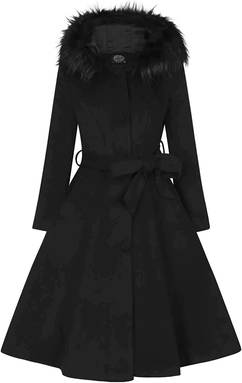 Vintage Coats & Jackets | Retro Coats and Jackets Hearts and Roses London Black Faux Fur Wool Hooded Retro Vintage Ella Swing Coat £89.99 AT vintagedancer.com
