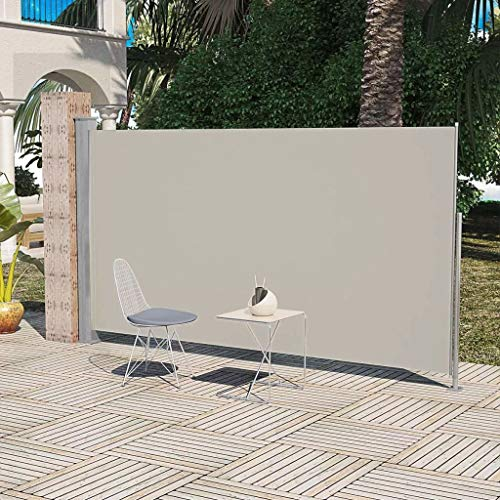 Tidyard Patio Terrace Adjustable Side Awning 63 Inches x118 Inches Cream Color