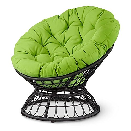 Outdoor Papasan Patio Chair With Bright Green Cushions Patio Garden Deck Furniture