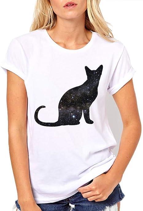 LIULINUIJ Camiseta De Mujer Camiseta De Mujer Harajuku Tops Animal Gato Impresión Camiseta del Espacio Camisa Ocasional Camiseta Femenina Camiseta Blanca Femenina Camiseta Superior Cómoda: Amazon.es: Deportes y aire libre