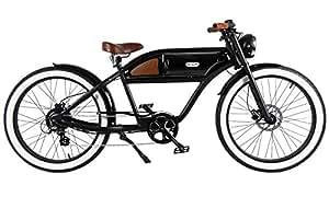 "GREASER RETRO STYLE Electric BIKE - 26"" Wheels, Bafang 350W Brushless Electric Motor, 7-speed, 36V13Ah, Li-Ion Battery, Extended Range, Black/Black"