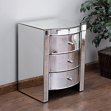 jacinda mirrored accent 3drawer nightstand