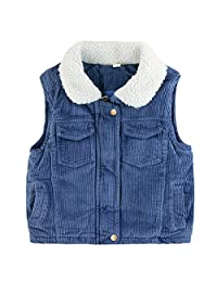 LJYH Little Girl's Corduroy Vest with Sherpa Lined Collar