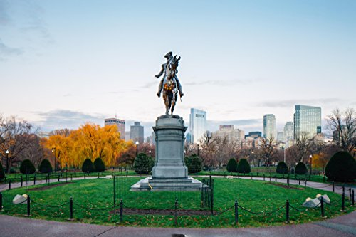 Photos Garden Boston Public - George Washington Statue Boston Public Garden Photo Art Print Poster 18x12 inch
