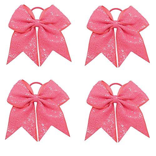 CN Sequin Baby Girls Cheer Bow Big School Color Hair Bow With Elastic Tie For Cheerleading Girls (Cheerleading Hair Ties)