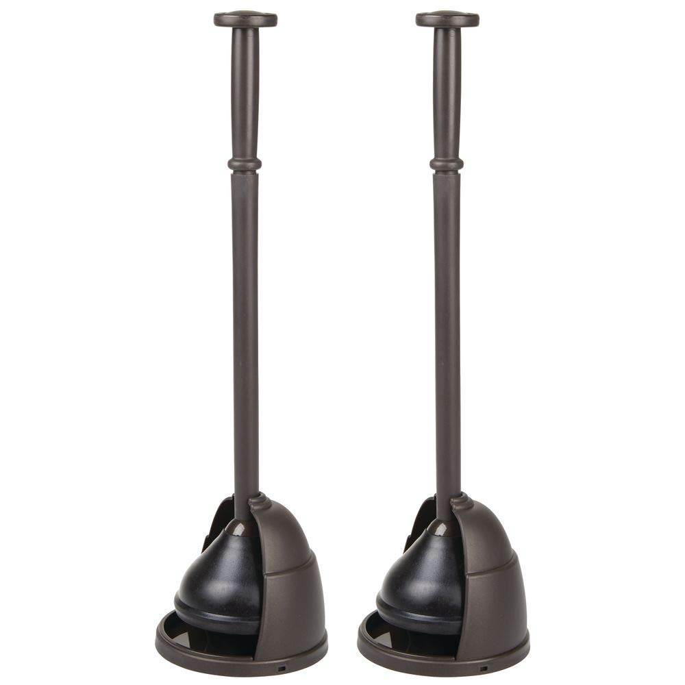 mDesign Plastic Toilet Bowl Plunger Set - with Drip Tray, Compact Discreet Freestanding Bathroom Storage Organization Caddy with Base, Sleek Modern Design - Heavy Duty, 2 Pack - Bronze