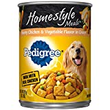 Pedigree Homestyle Meals Adult Canned Wet Dog Food Hearty Chicken and Vegetable Flavor in Gravy, (12) 13.2 oz. Cans