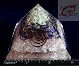 Charged Chakra New  Orgone Rose Quartz, Amethyst & Clear Quartz Pyramid Crystals Gemstones Copper Metal Mix Reiki Chakra