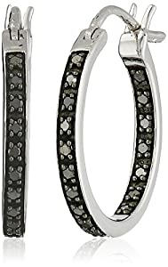 Sterling Silver Black Diamond Inside-Out Hoop Earrings (1/4 cttw, I2-I3 Clarity, 0.75